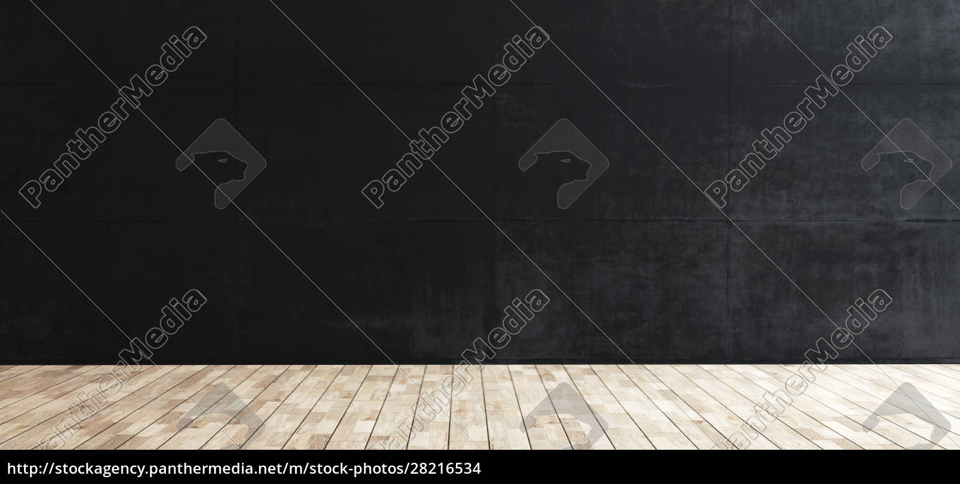 black, concrete, wall, and, wooden, floor - 28216534