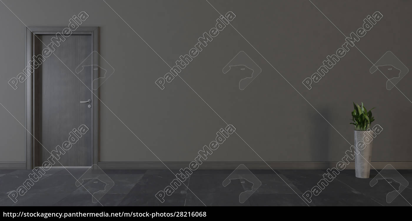 black, wooden, door, with, wall, and - 28216068