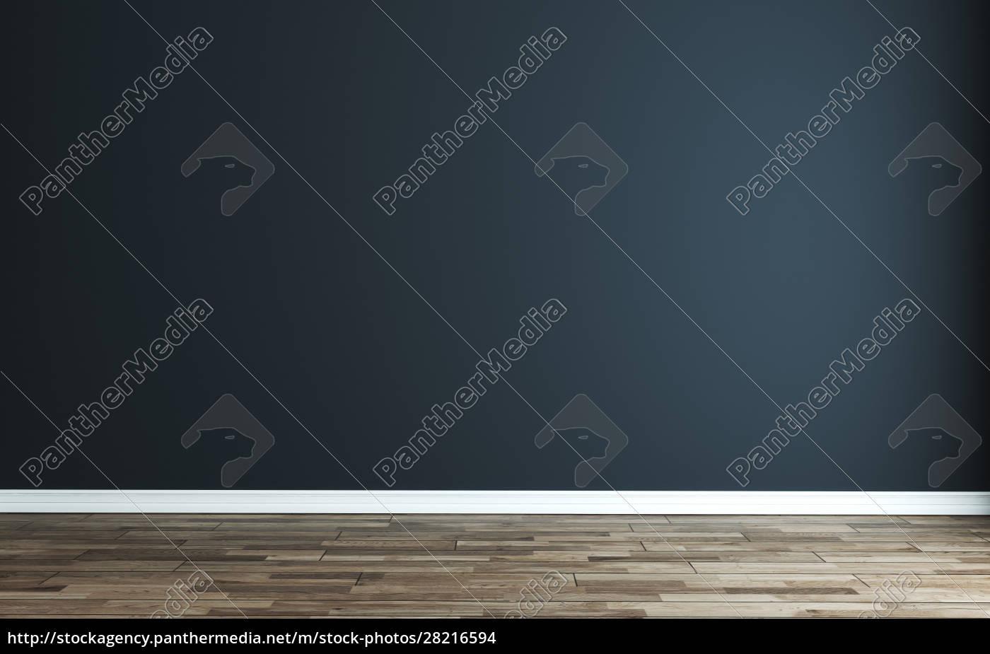 empty, room, with, modern, dark, blue - 28216594