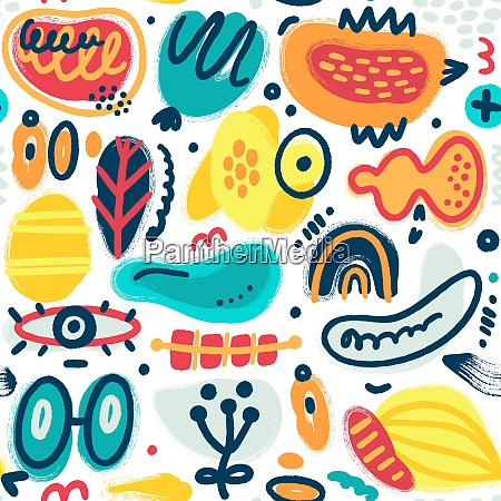 vector, seamless, pattern, with, hand, drawn - 28216587