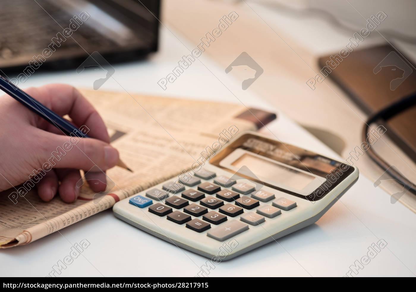 calculator, and, finance, newspaper., coronavirus, concept. - 28217915