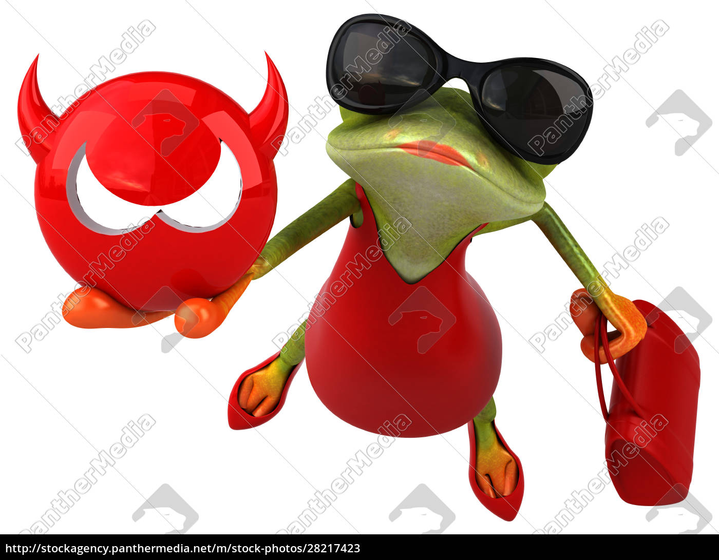 fun, frog, -, 3d, illustration - 28217423