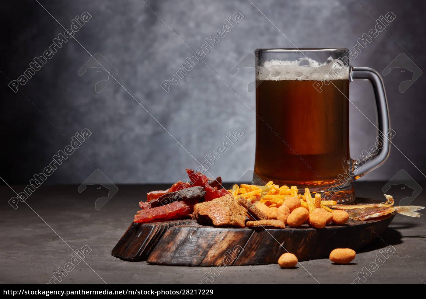 glass, mug, with, beer, and, snacks - 28217229