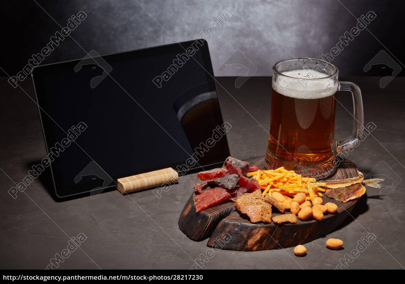 glass, mug, with, beer, and, snacks - 28217230