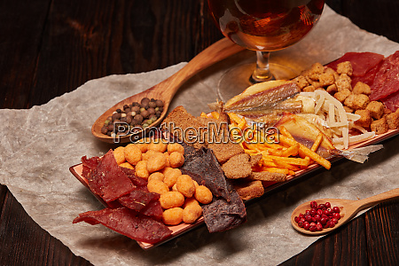 glass, with, beer, and, snacks - 28217185