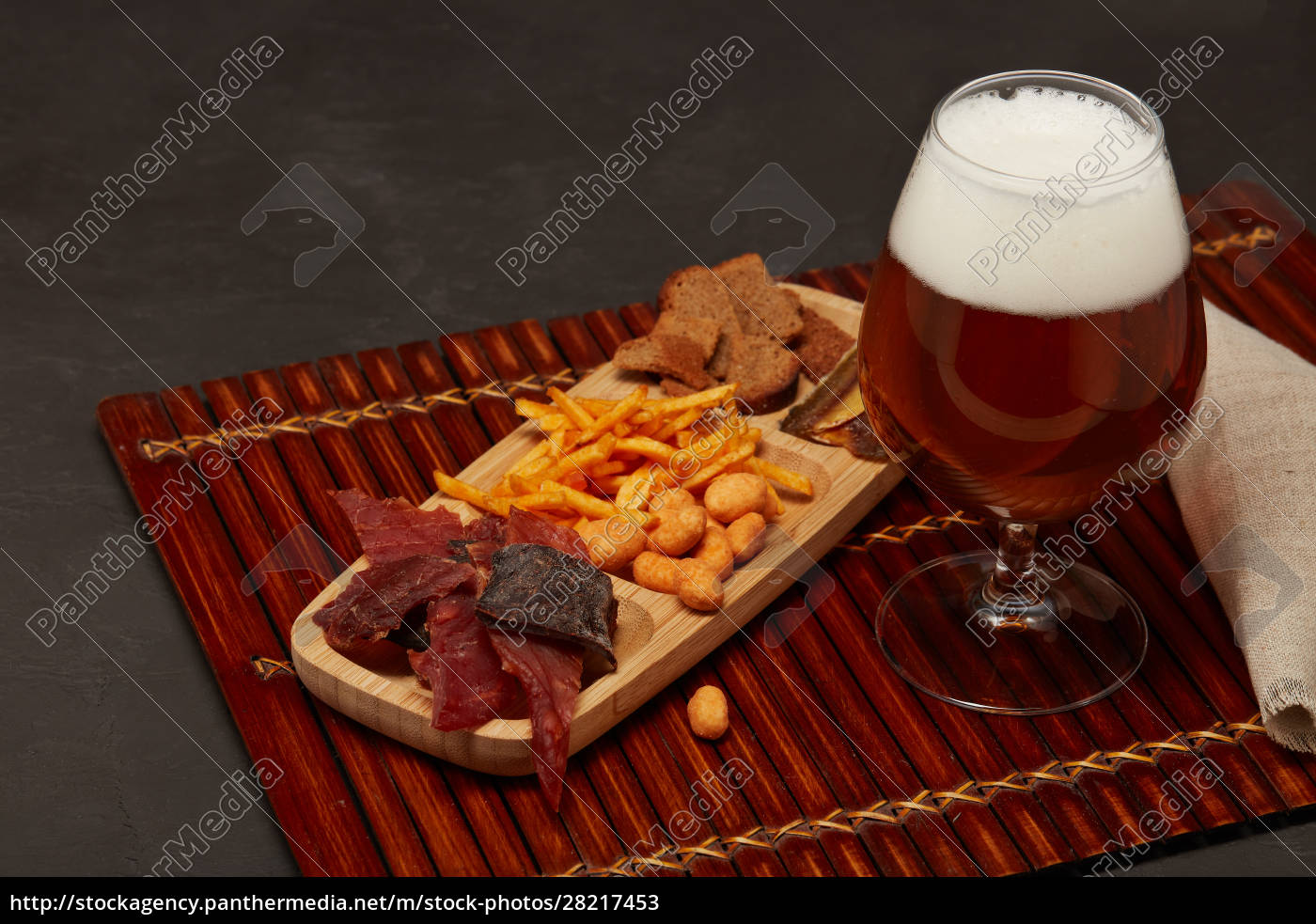 glass, with, beer, and, snacks - 28217453