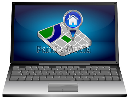 laptop, computer, with, blue, home, map - 28218394