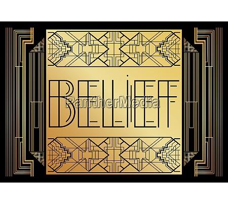art deco belief text