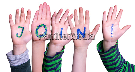children hands building word join isolated