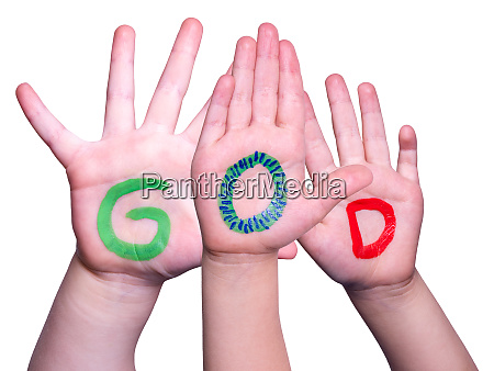 children hands building word god isolated