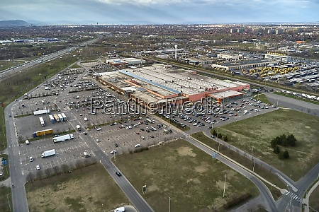shopping mall aerial view auchan