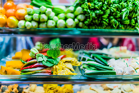 traditional asian dishes sold in a
