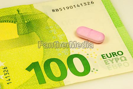 pill on euro bills