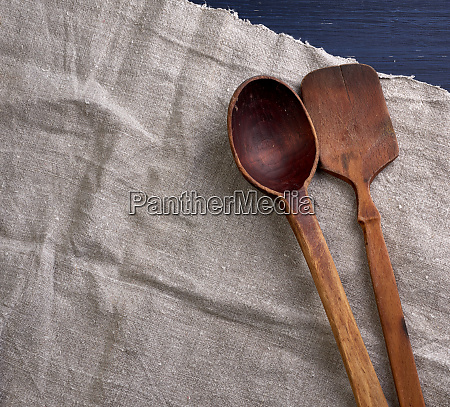 old empty brown wooden spoon on