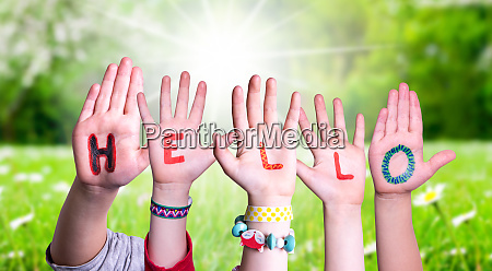 children, hands, building, word, hello, , grass - 28223065