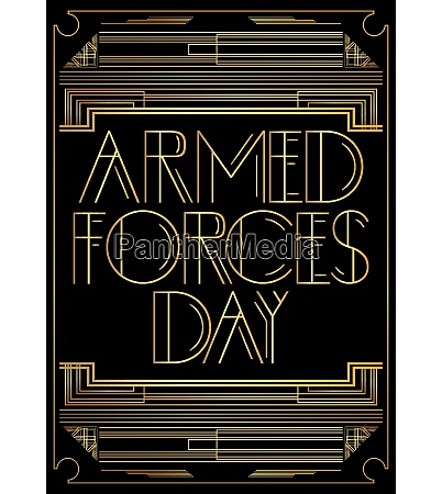 art deco armed forces day text
