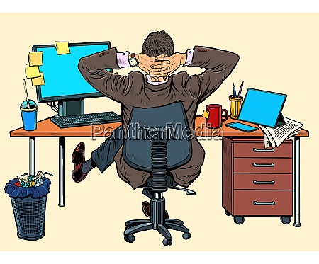businessman resting in the office at