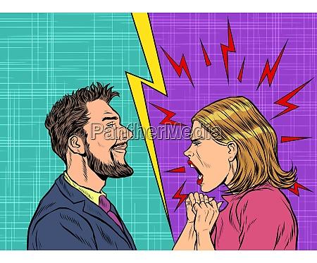 man and woman dispute emotions scream