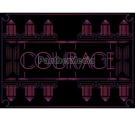 art deco courage text