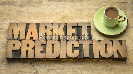 market prediction word abstract in wood