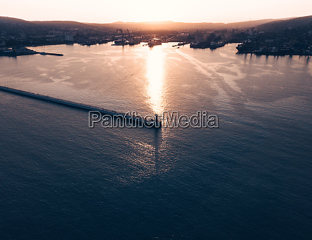 aerial view of black sea port