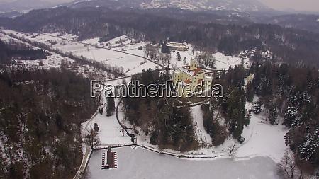 aerial view of trakoscan castle near