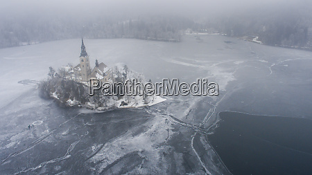 aerial view of frozen lake bled