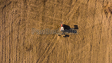 aerial view of tractor in the