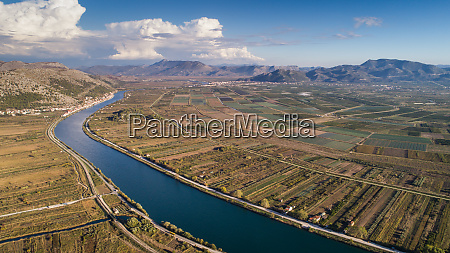 aerial view of neretva river landscape
