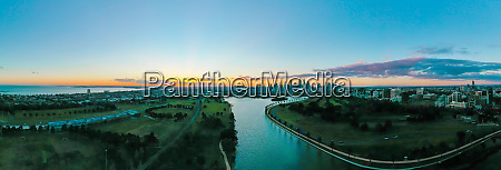 panoramic aerial view of albert park