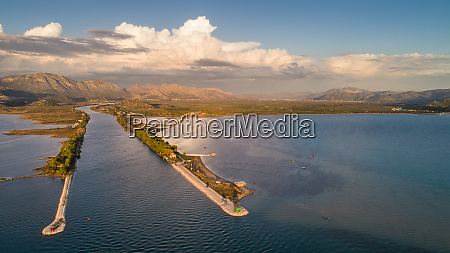 aerial view of neretva river mouth