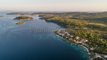 aerial view of korcula island landscape