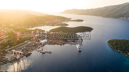 aerial view of ferry port on