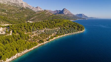 aerial view of coastline near drvenik