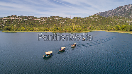 aerial view of tourist boats on