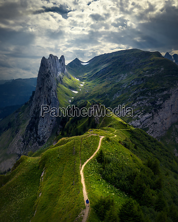 aerial view of hiking trail mountains