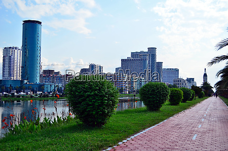 batumi seafront with view on new