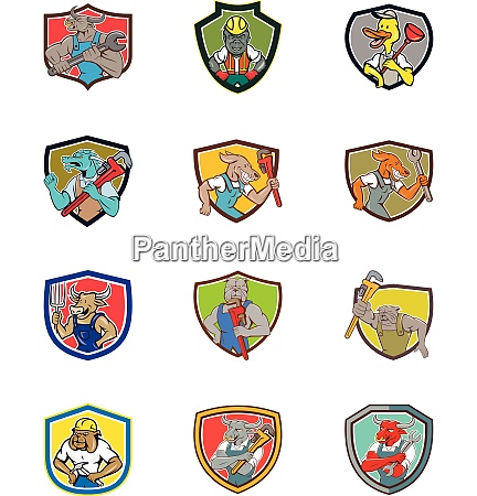 animals industrial job cartoon shield set