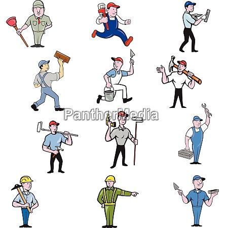 tradesman industrial worker cartoon full body