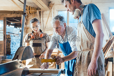 experienced master carpenter transferring knowledge to