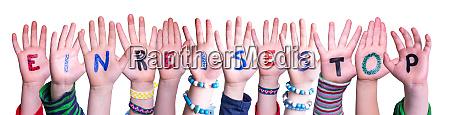 children hands building word einreisestopp means
