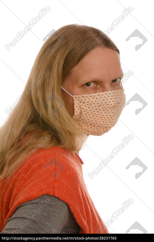 frau, mit, mundschutz, und, maske - 28231765