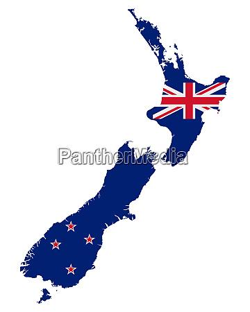 fahne in landkarte von neuseeland