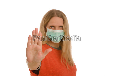 woman, with, mouth, protection, and, mask - 28232138