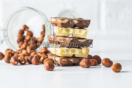 white and dark nut chocolate with