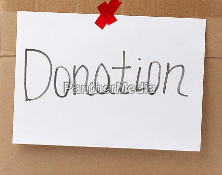 inscription donation on a white sheet