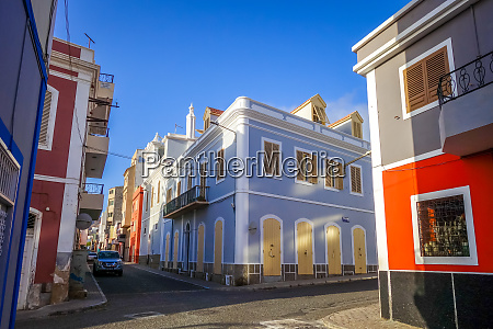 colorful houses in mindelo city sao