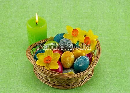 easter colored painted eggs in a