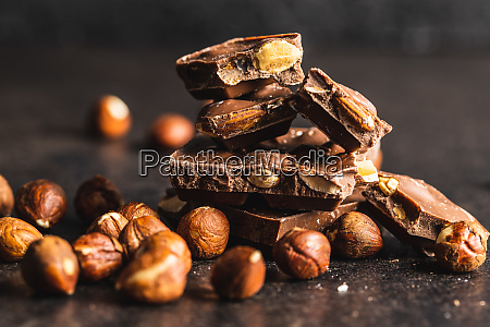 dark nut chocolate and hazelnuts