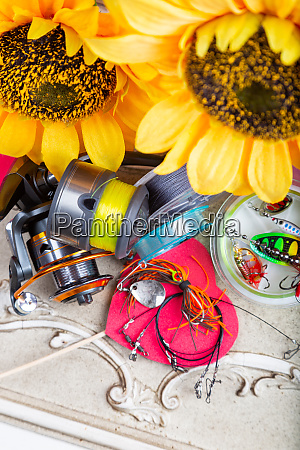 fishing tackles lines and reel with